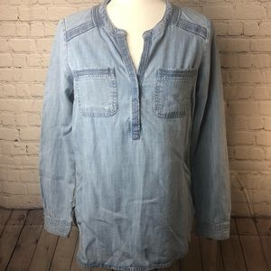 Eddie Bauer denim shirt. Beautiful stitch detail